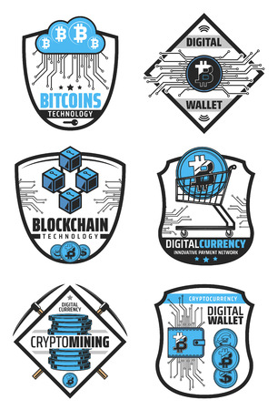 Digital currency and blockchain technology icons for financial operations with cryptocurrency. Optical fiber and online cloud, bitcoin in cart and wallet. Innovative payment network signs vector