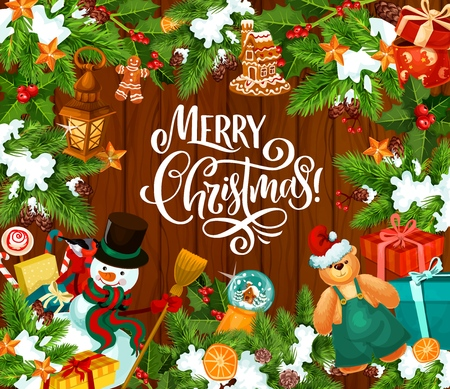 Merry Christmas greeting card with Santa gifts and snowman in Xmas tree ornaments. Vector gifts and decorations of gingerbread cookie man, house and candy cane with snowflakes on wooden background 向量圖像