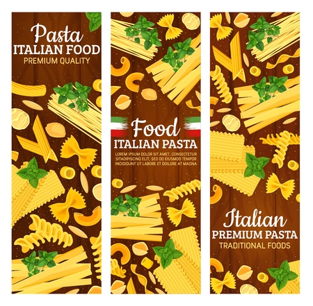 Italian food banners with pasta from Italy and national flag. Macaroni and spaghetti, fusilli and farfalle, maccheroni rigati and gnocchetti sardi. Chifferi and lasagne with greenery seasoning vector