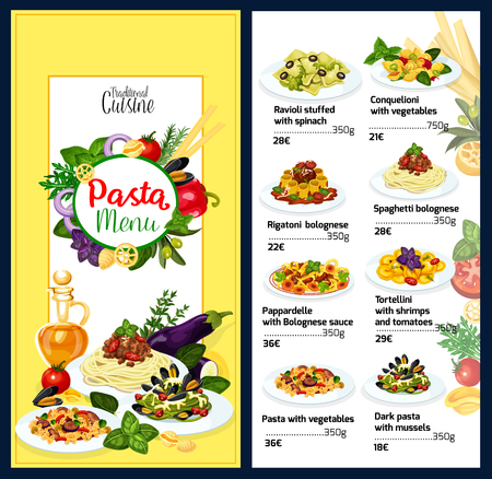 Pasta menu template of Italian cuisine. Ravioli stuffed with spinach and conquelioni with vegetables, rigatoni or spaghetti bolognese. Pappardelle with sauce and tortellini with shrimps vector Иллюстрация