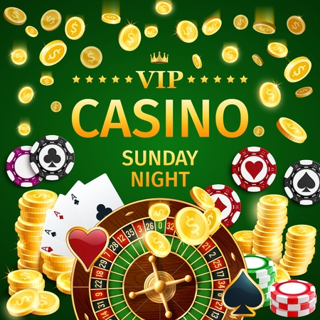 VIP online casino poster with roulette and gold coins, chips for stakes and aces play cards for poker or blackjack games. Private Internet gambling club for gamblers vector. Win money by taking risk Illustration