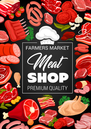 Meat shop poster for butchery products. Sausages and delicatessen, pork bacon or beef steak and tenderloin, mutton ribs and chicken. Seasoning of garlic and greenery, tomato and chef cook hat vector