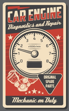 Car service and engine repair station vintage poster for automobile shop or mechanic garage. Vector retro design of tachometer, mechanic on duty. Original spare auto parts and restoration work Illustration