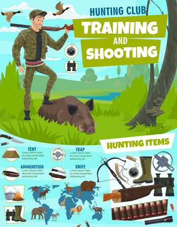 Training and shooting in hunting sport poster. Hunter with rifle and wild boar in forest. Items for hunt, crossbow and trap, binoculars and bullets, compass and tent, ammunition and knife vector