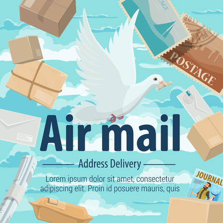 Air mail service poster for global delivery and air post. Dove or pigeon delivering mail on address, postcards and newspaper, parcels and box. Transportation, shipping and freight aircraft vector Illustration