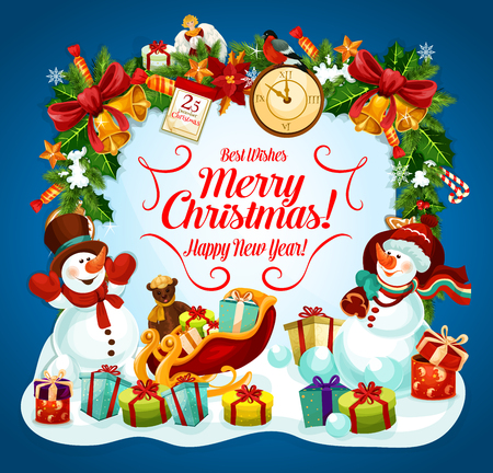 Christmas and New Year greeting card of snowman and gift. Winter holiday festive banner with holly and Xmas garland, snowman with Santa sleigh and present, bell, star and candy, ribbon bow and clock