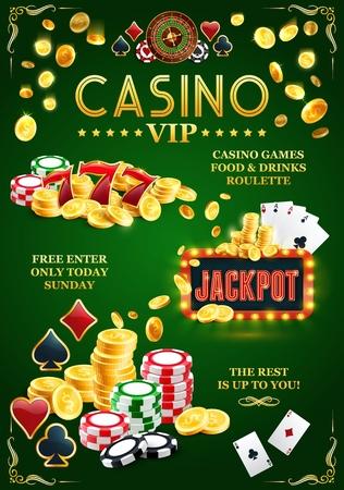Jackpot casino poster, online VIP gokclub. Gouden munten en fiches, speelkaarten met kleuren of azen, roulettewiel. Gok met een uitnodiging voor drankjes en eten om gemakkelijk geld te verdienen door uit te zetten vector