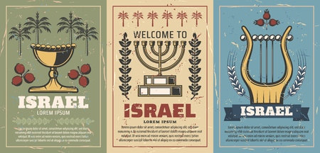 Welcome to Israel retro posters with gold goblet and pomegranate, menorah and laurel branches, harp musical instrument. Jewish culture and judaism religion. Travel vintage brochures vector