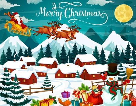 Cartel de vacaciones de invierno para Navidad. Santa Claus en arnés con ciervos sobrevolando el pueblo. Casas en el bosque bajo la nieve y regalos o regalos, muñeco de nieve y camachuelo, luna llena sobre vector de montañas