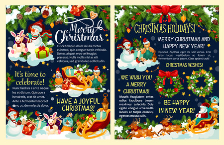 Christmas gift and Santa reindeer sleigh festive poster. Snowman with Xmas tree, present and snowflake, Christmas wreath with holly, ribbon and ball, candy, cookie and star for winter holiday design Illustration