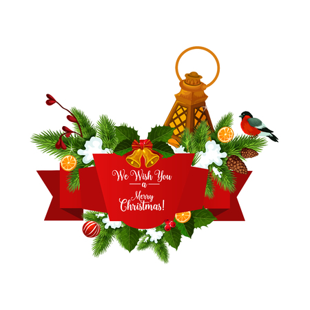 Christmas tree garland with ribbon banner for New Year holiday celebration. Xmas bell, red bow and snowflake, candle lantern, snow and pinecone with holly and fir tree branch for greeting card design