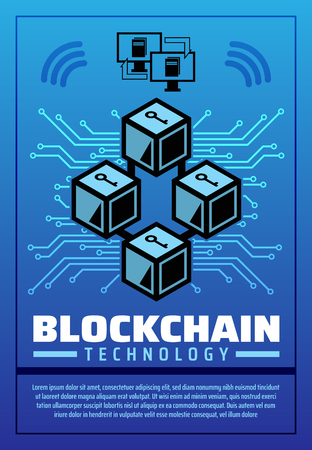 Blockchain technology poster, digital money or financial operations with cryptocurrency. Cubes with question marks and connected monitors. Innovative payment network and currency exchange vector Ilustração