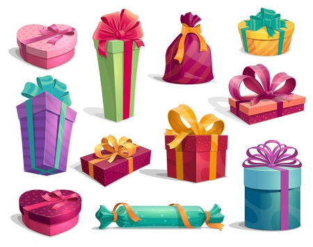 Presents and gifts icons for Birthday and New Year, Christmas and Valentines day holiday. Boxes wrapped in bright paper and ribbons with bow on top. Red, pink, green and blue, purple and yellow gifts