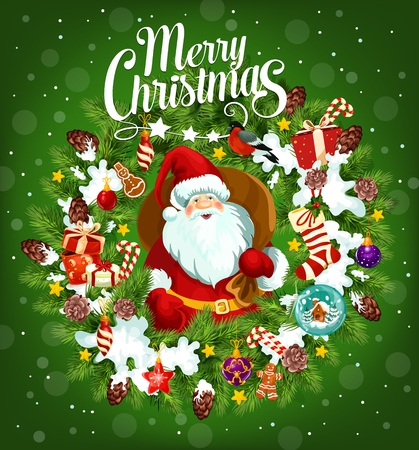 Santa Claus with sack of gifts on Merry Christmas poster with garland of fir branches and snow. Bullfinch and glass ball with house, present and gingerbread cookie. Winter holiday greeting card vector Illustration