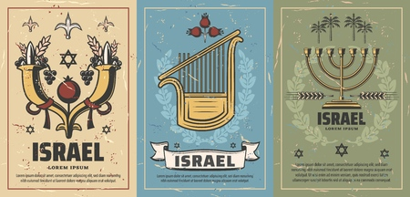 Israel retro posters with cornucopia full of pomegranate, grapes and wheat, musical instrument and candlestick. David star and tropical palms. Vintage shabby brochures for travel agency vector Illustration