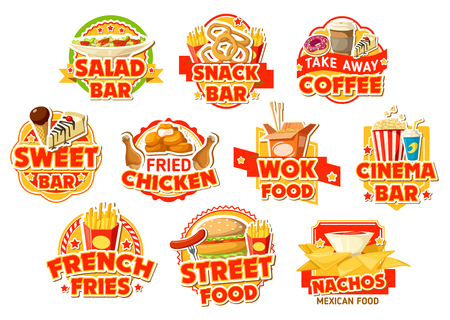 Fast food labels of salad and snack bar, cinema and mexican street food cafe. Burger, chicken and fries, nuggets, donut and coffee, cake, soda and noodle, nachos and ice cream vector icons