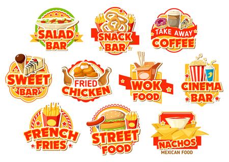 Fastfoodetiketten van salade- en snackbar, bioscoop en Mexicaans straatvoedselcafé. Hamburger, kip en patat, nuggets, donut en koffie, cake, frisdrank en noedels, nacho's en ijs vector iconen