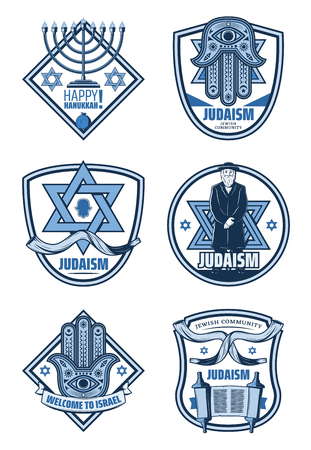 Israel tradition icons of jewish menorah, hebrew torah book, star of David and hamsa hand badges with ribbon banner. Judaism religion symbols, Hanukkah holiday greeting design Ilustrace