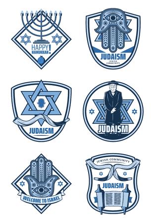 Israel tradition icons of jewish menorah, hebrew torah book, star of David and hamsa hand badges with ribbon banner. Judaism religion symbols, Hanukkah holiday greeting design Illustration