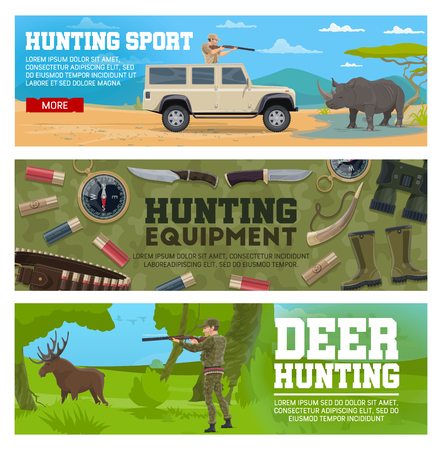 Deer hunting and african safari. Hunter aiming gun at elk and rhino. Hunter equipment with knife, binoculars and cartridge ammunition, horn, boots and cartridge belt