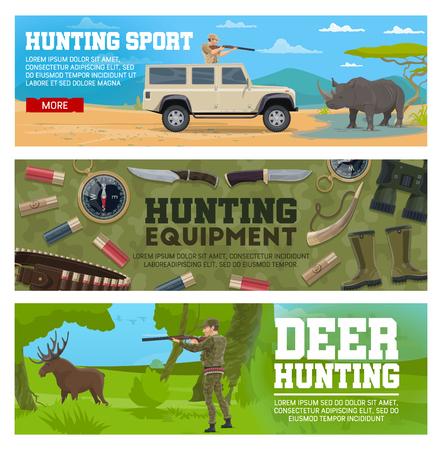 Deer hunting and african safari. Hunter aiming gun at elk and rhino. Hunter equipment with knife, binoculars and cartridge ammunition, horn, boots and cartridge belt