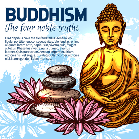 Buddha golden statue, lotus fortune flower and rock balancing. Buddhist religion tradition vector design. Buddhist spiritual practice, Asian culture theme design