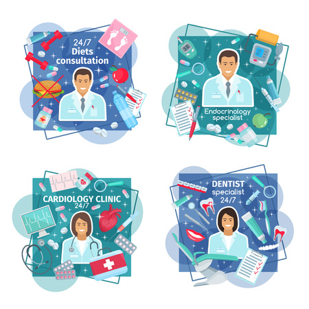 Medical clinic and diagnostic center. Cardiology, dentistry, endocrinology and dietetics medicine. Dentist, cardiologist, endocrinologist doctors and diet consultant icons. Vector illustration
