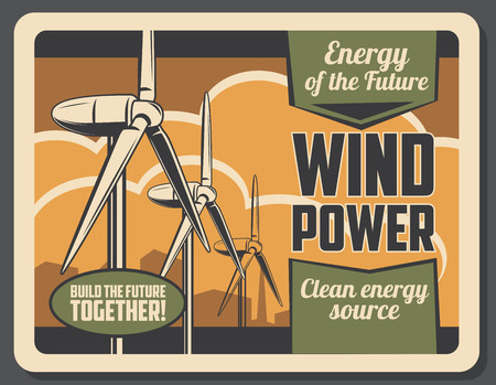 Green power wind turbine with city skyline on background for ecology and environment protection concept. Eco energy vintage poster of renewable natural resource technology Иллюстрация