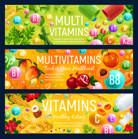 Multivitamin banner of natural vitamin and mineral pill vegetarian ingredient. Vitamin ball with fruit, vegetable and berry, cereal, nut and spice herb. Healthy eating and dieting. Vector