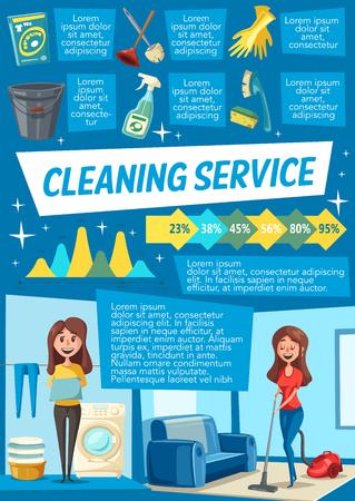 Infografía de servicio de limpieza y lavandería. Gráfico de estadísticas de trabajo doméstico y tabla con iconos de herramientas de limpieza de aspiradora, escoba, spray, lavadora, cubo y cepillo, fregona y guante. Vector