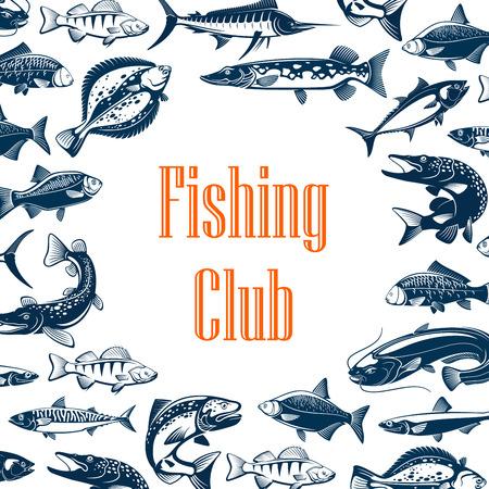 Affiche du club de pêche avec cadre de poissons de mer et de rivière. Marlin bleu, thon et saumon, carpe, maquereau et perche, morue, anchois et plie, poisson-chat et dorade. Conception d'un marché aux poissons ou d'un club de sport de pêcheur
