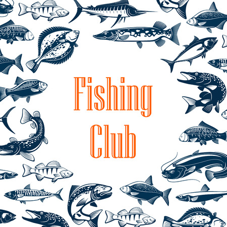 Fishing club poster with sea and river fish frame. Blue marlin, tuna and salmon, carp, mackerel and perch, cod, anchovy and flounder, catfish and bream. Fish market or fisher sport club design Standard-Bild - 108100148