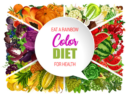 Color diet, rainbow colored groups of food ingredient. Healthy nutrition. Vector egetable, fruit and nut, berry, bean and mushroom, herb and spice. Vector dieting plan design Banque d'images - 110122337