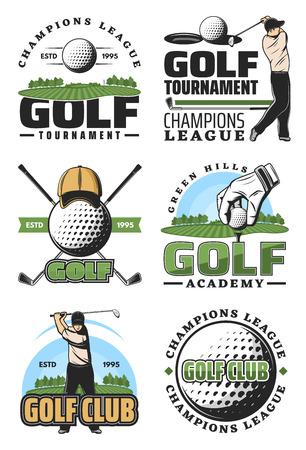 Torneo di golf e icone retrò di champion league, design del club sportivo. Giocatore di golf con palla e mazza, campo verde, buco e spilla, bandiera e berretto icone isolate per simboli ed emblemi del golf