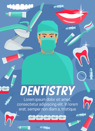 Dentistry medicine poster with dentist, tooth and dental treatment tool. Dental clinic doctor with teeth, implant and braces, toothpaste, toothbrush and healthy smile. Health care banner design