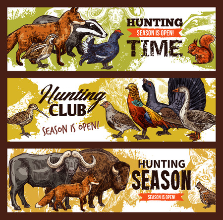 Hunting season and hunter club banners, animals and birds. Goose, fox and lynx, buffalo, bison and quail, grouse, badger and squirrel, partridge and ox. Vector sketch design