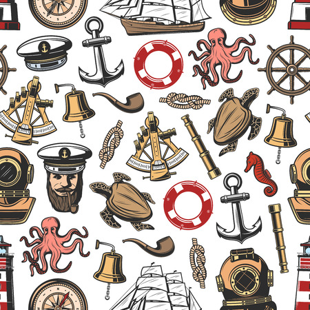 Nautical seamless pattern background with vintage marine items. Anchor, helm and rope, sail ship, compass and captain with cap and pipe, lighthouse, bell and antique sextant. Vector illustration