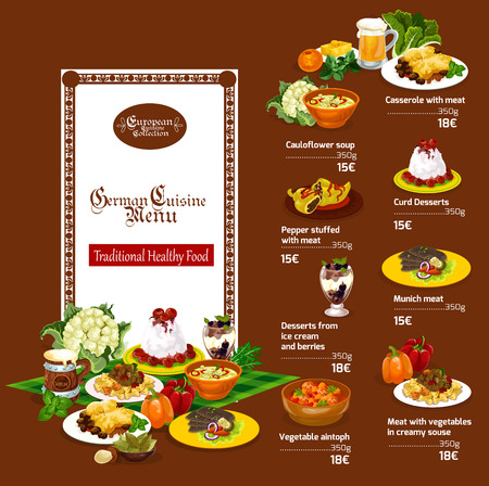 German cuisine restaurant menu. Dessert and beer drink, beef steak, meat casserole and cream cheese pasta dish, stuffed pepper, cabbage soup and ice cream with fruits Illustration