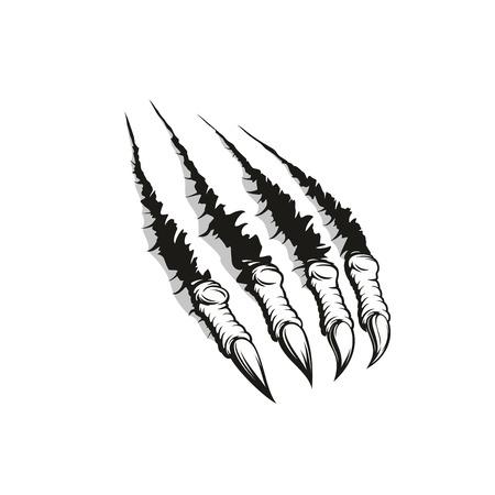 Griffe de monstre déchirant l'arrière-plan, le tatouage ou l'impression de t-shirt. Marque de patte d'un animal agressif ou d'une bête de loup-garou en colère déchirant du papier avec des rayures et des bords déchiquetés