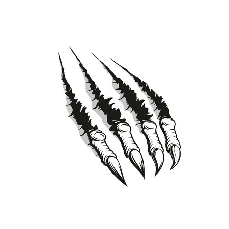 Monster claw ripping through background, tattoo or t-shirt print design. Paw mark of aggressive animal or angry werewolf beast tearing up paper with scratches and ragged edge