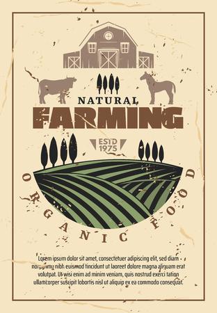 Poster retrò di agricoltura biologica con cibo naturale della fattoria, design a tema agricolo. Campo verde con crescita, fienile, mucca e cavallo animale, modello vintage del mercato contadino