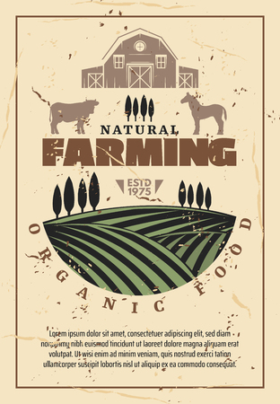 Organic farming retro poster with natural farm food, agriculture theme design. Green field with growth, barn, cow and horse animal, farmer market vintage template Illustration