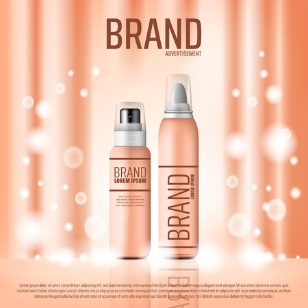 Cosmetics advertising banner of skin care or hairstyling product. Pink bottle mock up of cream, lotion or hair mousse 3d poster with shining silk background. Beauty salon vector promo