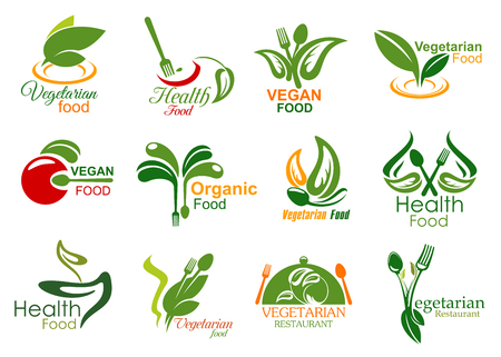 Vegetarian restaurant symbols of healthy and vegan food menu. Fork, spoon and tray lid isolated icons, decorated with green leaf, organic vegetable and fruit. Bio market and eco shop badges design