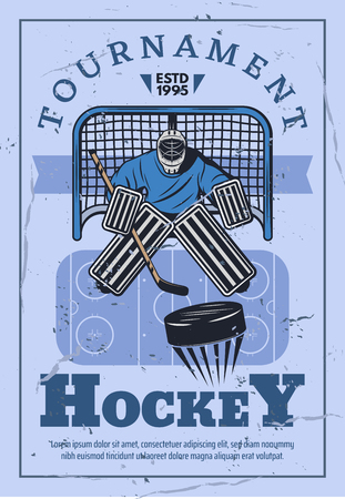 Ice hockey tournament, winter sport game competition. Hockey goalie protecting gate with stick and puck, championship match vector retro design Illustration