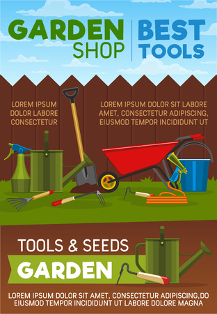 Garden shop gardening tools, items, seed and agriculture equipment. Shovel, watering can and hose, bucket, fork and wheelbarrow, pitchfork, spray and scissors design