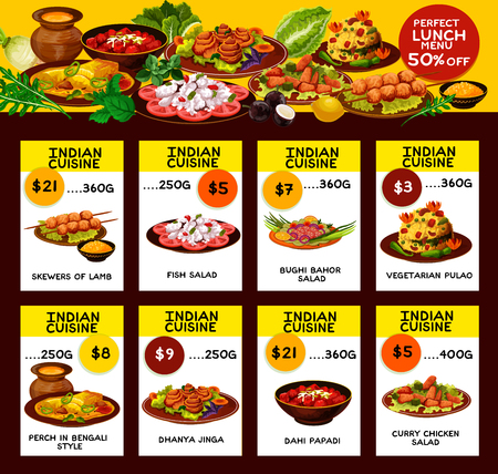 Indian cuisine restaurant menu. Chicken curry, vegetarian rice, vegetable and fish salad, grilled lamb, crispy fried dough with sauce and baked fish