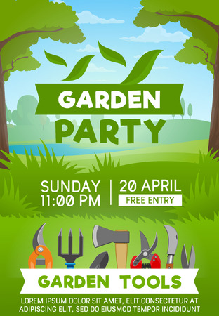 Vector gardening tool and equipment, green tree and grass. Shovel, fork and scissors, axe, secateurs and rake poster with summer park on background