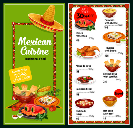 Mexican cuisine restaurant menu meat and snack dishes. Chicken and tomato soup with tortilla and bean burrito, beef stew, stuffed pepper, steak and cheese potato casserole. Vector illustration