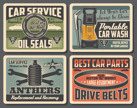 Car service vintage banner set. Auto repair, car part and motor oil shop, automobile wash center and mechanic garage. Retro auto spare parts, wrench and spanner. Vector illustration